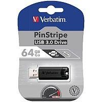 Verbatim Black Pinstripe 64GB USB 3.0 Flash Drive 49318