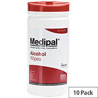 Medipal Healthcare Alcohol Wipes 200 Tub Case of 10