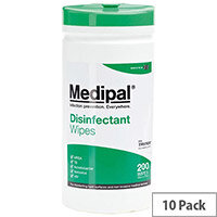 Medipal Healthcare Disinfectant Wipes 200 Tub Case of 10