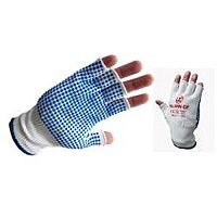 Fingerless Nylon Dotted Gloves White Blue Palm