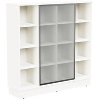 Grand Tall Cube Shelf Bookcase With Sliding Frosted Glass Door W1605xD420xH1615mm White