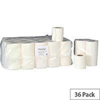 Whitebox Dispenser Toilet Paper Tissue Rolls 2-Ply White 200 Sheet (Pack 36) TWH200T