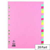 A4 Manilla Subject Divider 20-Part Multi-Colour WX01517