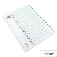 A4 Mylar Index Subject Dividers 1-15 Part White WX01530