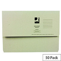 Q- Connect Document Wallet 220gsm Foolscap Green Pack of 50 WX23012A