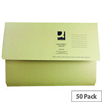 Q- Connect Document Wallet 220gsm Foolscap Yellow Pack of 50 WX23017A