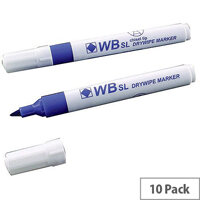 Whiteboard Marker Chisel Tip Blue 10 Pack WX26036