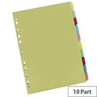A4 Manilla Subject Divider 10-Part Multi-Colour WX26082