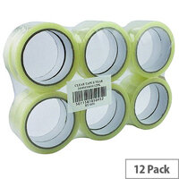 Clear Sticky Packing Tape 24 mm x 66 m (Pack of 12)