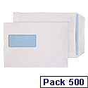 Envelopes C5 Window 90gsm White Self-Seal Pack of 500 Boxed WX3406