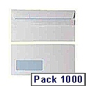 Envelope DL Window 90gsm White Self-Seal Pack of 1000 WX3481