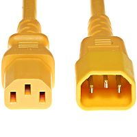 Power Cable C13 to C14 Extension Cord Male-Female IEC (3 Pin Plug) - Yellow - 2 Metre Length