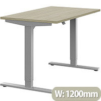Zoom Height Adjustable Sit Stand Office Desk Plain Top W1200mmxD700mmxH685-1185mm Arctic Oak Top Silver Frame - Prevents & Reduces Muscle & Back Problems, Poor Circulation & Increases Brain Activity.