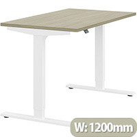 Zoom Height Adjustable Sit Stand Office Desk Plain Top W1200mmxD700mmxH685-1185mm Arctic Oak Top White Frame - Prevents & Reduces Muscle & Back Problems, Poor Circulation & Increases Brain Activity.