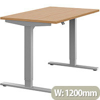 Zoom Height Adjustable Sit Stand Office Desk Plain Top W1200mmxD700mmxH685-1185mm Beech Top Silver Frame - Prevents & Reduces Muscle & Back Problems, Poor Circulation & Increases Brain Activity.