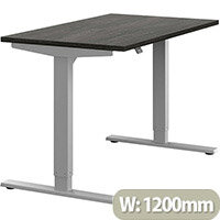 Zoom Height Adjustable Sit Stand Office Desk Plain Top W1200mmxD700mmxH685-1185mm Carbon Walnut Top Silver Frame - Prevents & Reduces Muscle & Back Problems, Poor Circulation & Increases Brain Activity.