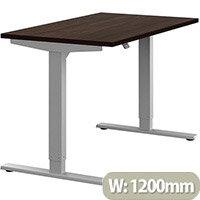 Zoom Height Adjustable Sit Stand Office Desk Plain Top W1200mmxD700mmxH685-1185mm Dark Walnut Top Silver Frame - Prevents & Reduces Muscle & Back Problems, Poor Circulation & Increases Brain Activity.
