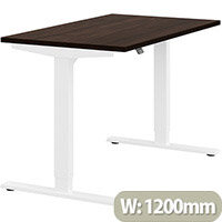 Zoom Height Adjustable Sit Stand Office Desk Plain Top W1200mmxD700mmxH685-1185mm Dark Walnut Top White Frame - Prevents & Reduces Muscle & Back Problems, Poor Circulation & Increases Brain Activity.
