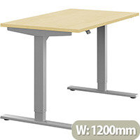 Zoom Height Adjustable Sit Stand Office Desk Plain Top W1200mmxD700mmxH685-1185mm Maple Top Silver Frame - Prevents & Reduces Muscle & Back Problems, Poor Circulation & Increases Brain Activity.