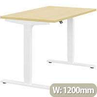 Zoom Height Adjustable Sit Stand Office Desk Plain Top W1200mmxD700mmxH685-1185mm Maple Top White Frame - Prevents & Reduces Muscle & Back Problems, Poor Circulation & Increases Brain Activity.