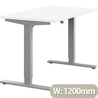 Zoom Height Adjustable Sit Stand Office Desk Plain Top W1200mmxD700mmxH685-1185mm White Top Silver Frame - Prevents & Reduces Muscle & Back Problems, Poor Circulation & Increases Brain Activity.