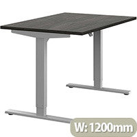 Zoom Height Adjustable Sit Stand Office Desk Plain Top W1200mmxD800mmxH685-1185mm Carbon Walnut Top Silver Frame - Prevents & Reduces Muscle & Back Problems, Poor Circulation & Increases Brain Activity.