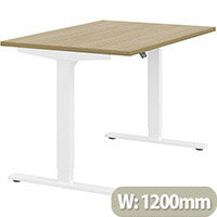 Zoom Height Adjustable Sit Stand Office Desk Plain Top W1200mmxD800mmxH685-1185mm Urban oak Top White Frame - Prevents & Reduces Muscle & Back Problems, Poor Circulation & Increases Brain Activity.