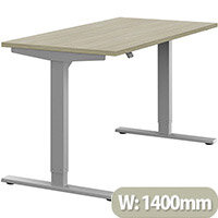 Zoom Height Adjustable Sit Stand Office Desk Plain Top W1400mmxD700mmxH685-1185mm Arctic Oak Top Silver Frame - Prevents & Reduces Muscle & Back Problems, Poor Circulation & Increases Brain Activity.