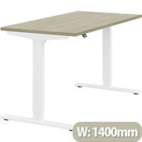 Zoom Height Adjustable Sit Stand Office Desk Plain Top W1400mmxD700mmxH685-1185mm Arctic Oak Top White Frame - Prevents & Reduces Muscle & Back Problems, Poor Circulation & Increases Brain Activity.