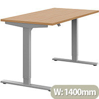 Zoom Height Adjustable Sit Stand Office Desk Plain Top W1400mmxD700mmxH685-1185mm Beech Top Silver Frame - Prevents & Reduces Muscle & Back Problems, Poor Circulation & Increases Brain Activity.