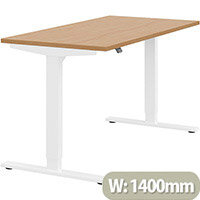 Zoom Height Adjustable Sit Stand Office Desk Plain Top W1400mmxD700mmxH685-1185mm Beech Top White Frame - Prevents & Reduces Muscle & Back Problems, Poor Circulation & Increases Brain Activity.