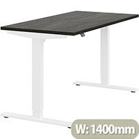 Zoom Height Adjustable Sit Stand Office Desk Plain Top W1400mmxD700mmxH685-1185mm Carbon Walnut Top White Frame - Prevents & Reduces Muscle & Back Problems, Poor Circulation & Increases Brain Activity.