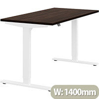 Zoom Height Adjustable Sit Stand Office Desk Plain Top W1400mmxD700mmxH685-1185mm Dark Walnut Top White Frame - Prevents & Reduces Muscle & Back Problems, Poor Circulation & Increases Brain Activity.