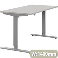 Zoom Height Adjustable Sit Stand Office Desk Plain Top W1400mmxD700mmxH685-1185mm Grey Top Silver Frame - Prevents & Reduces Muscle & Back Problems, Poor Circulation & Increases Brain Activity.