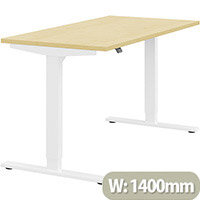 Zoom Height Adjustable Sit Stand Office Desk Plain Top W1400mmxD700mmxH685-1185mm Maple Top White Frame - Prevents & Reduces Muscle & Back Problems, Poor Circulation & Increases Brain Activity.