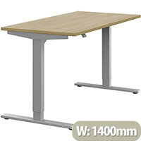 Zoom Height Adjustable Sit Stand Office Desk Plain Top W1400mmxD700mmxH685-1185mm Urban Oak Top Silver Frame - Prevents & Reduces Muscle & Back Problems, Poor Circulation & Increases Brain Activity.