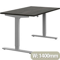 Zoom Height Adjustable Sit Stand Office Desk Plain Top W1400mmxD800mmxH685-1185mm Carbon Walnut Top Silver Frame - Prevents & Reduces Muscle & Back Problems, Poor Circulation & Increases Brain Activity.