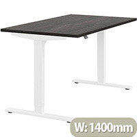 Zoom Height Adjustable Sit Stand Office Desk Plain Top W1400mmxD800mmxH685-1185mm Carbon Walnut Top White Frame - Prevents & Reduces Muscle & Back Problems, Poor Circulation & Increases Brain Activity.