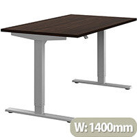 Zoom Height Adjustable Sit Stand Office Desk Plain Top W1400mmxD800mmxH685-1185mm Dark Walnut Top Silver Frame - Prevents & Reduces Muscle & Back Problems, Poor Circulation & Increases Brain Activity.