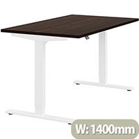 Zoom Height Adjustable Sit Stand Office Desk Plain Top W1400mmxD800mmxH685-1185mm Dark Walnut Top White Frame - Prevents & Reduces Muscle & Back Problems, Poor Circulation & Increases Brain Activity.