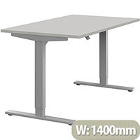 Zoom Height Adjustable Sit Stand Office Desk Plain Top W1400mmxD800mmxH685-1185mm Grey Top Silver Frame - Prevents & Reduces Muscle & Back Problems, Poor Circulation & Increases Brain Activity.