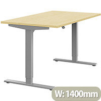 Zoom Height Adjustable Sit Stand Office Desk Plain Top W1400mmxD800mmxH685-1185mm Maple Top Silver Frame - Prevents & Reduces Muscle & Back Problems, Poor Circulation & Increases Brain Activity.