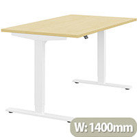 Zoom Height Adjustable Sit Stand Office Desk Plain Top W1400mmxD800mmxH685-1185mm Maple Top White Frame - Prevents & Reduces Muscle & Back Problems, Poor Circulation & Increases Brain Activity.