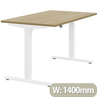 Zoom Height Adjustable Sit Stand Office Desk Plain Top W1400mmxD800mmxH685-1185mm Urban oak Top White Frame - Prevents & Reduces Muscle & Back Problems, Poor Circulation & Increases Brain Activity.