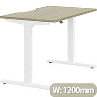 Zoom Height Adjustable Sit Stand Office Desk Scallop Top W1200mmxD700mmxH685-1185mm Arctic Oak Top White Frame - Prevents & Reduces Muscle & Back Problems, Poor Circulation & Increases Brain Activity.
