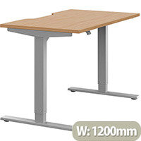 Zoom Height Adjustable Sit Stand Office Desk Scallop Top W1200mmxD700mmxH685-1185mm Beech Top Silver Frame - Prevents & Reduces Muscle & Back Problems, Poor Circulation & Increases Brain Activity.