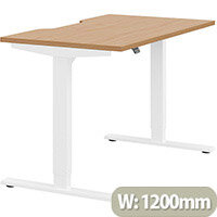 Zoom Height Adjustable Sit Stand Office Desk Scallop Top W1200mmxD700mmxH685-1185mm Beech Top White Frame - Prevents & Reduces Muscle & Back Problems, Poor Circulation & Increases Brain Activity.