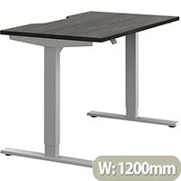 Zoom Height Adjustable Sit Stand Office Desk Scallop Top W1200mmxD700mmxH685-1185mm Carbon Walnut Top Silver Frame - Prevents & Reduces Muscle & Back Problems, Poor Circulation & Increases Brain Activity.