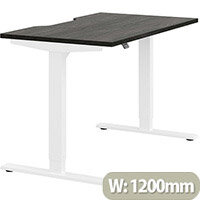 Zoom Height Adjustable Sit Stand Office Desk Scallop Top W1200mmxD700mmxH685-1185mm Carbon Walnut Top White Frame - Prevents & Reduces Muscle & Back Problems, Poor Circulation & Increases Brain Activity.