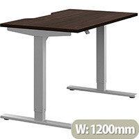 Zoom Height Adjustable Sit Stand Office Desk Scallop Top W1200mmxD700mmxH685-1185mm Dark Walnut Top Silver Frame - Prevents & Reduces Muscle & Back Problems, Poor Circulation & Increases Brain Activity.